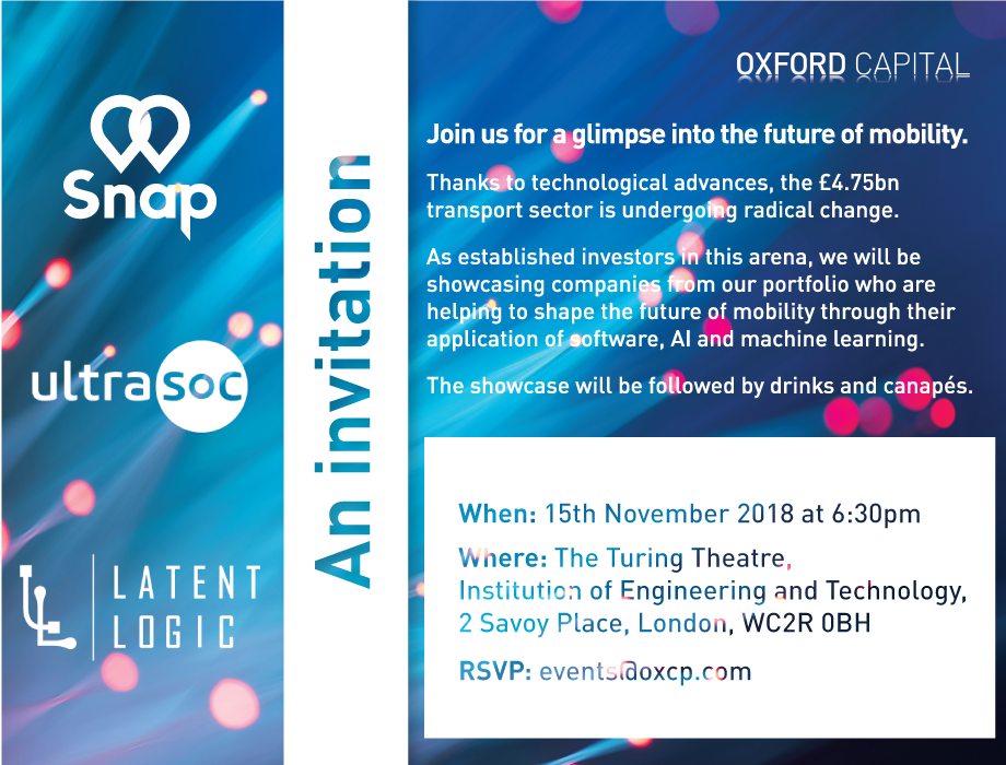 Invitation to Oxford Capital CIC Showcase 'Future of Mobility' on 15 November